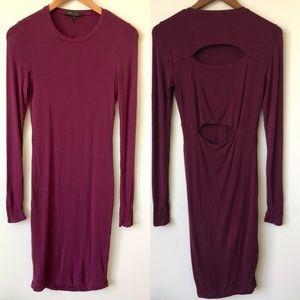 BCBGMaxAzria Knit Bodycon Cut Out Back Maxi Dress